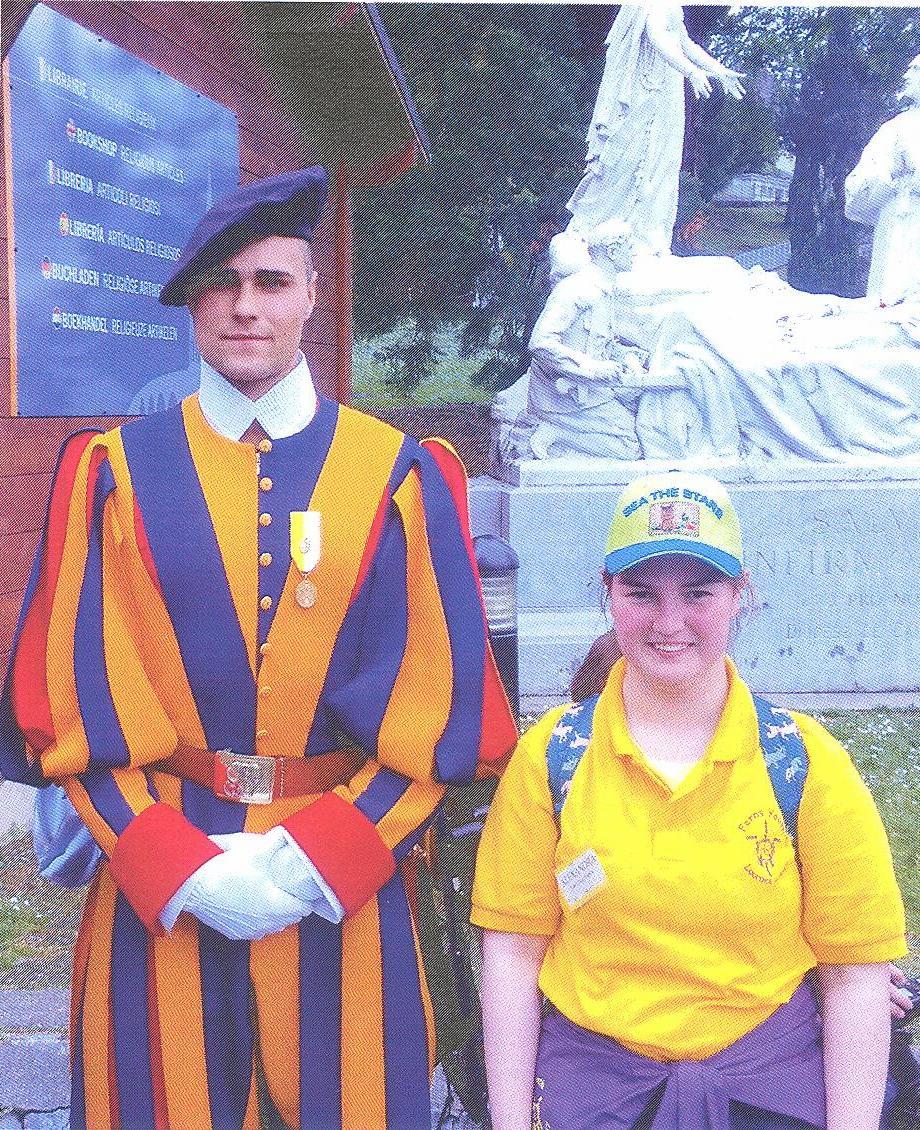 Swiss Guard in Lourdes with Alexandra